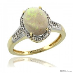 14k Yellow Gold Diamond Opal Ring 2.4 ct Oval Stone 10x8 mm, 1/2 in wide