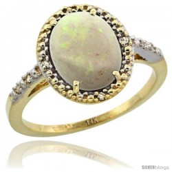 14k Yellow Gold Diamond Opal Ring 2.4 ct Oval Stone 10x8 mm, 1/2 in wide -Style Cy420111