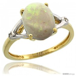 14k Yellow Gold Diamond Opal Ring 2.4 ct Oval Stone 10x8 mm, 3/8 in wide