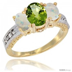 14k Yellow Gold Ladies Oval Natural Peridot 3-Stone Ring with Opal Sides Diamond Accent