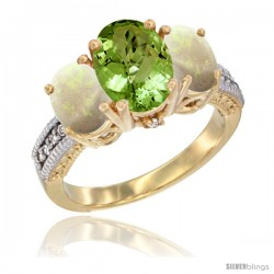 14K Yellow Gold Ladies 3-Stone Oval Natural Peridot Ring with Opal Sides Diamond Accent