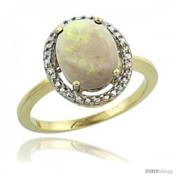 14k Yellow Gold Diamond Opal Ring 2.4 ct Oval Stone 10x8 mm, 1/2 in wide -Style Cy420114