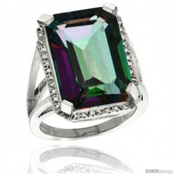 Sterling Silver Diamond Mystic Topaz Ring 14.96 ct Emerald Shape 18x13 mm Stone, 13/16 in wide