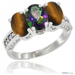 14K White Gold Natural Mystic Topaz & Tiger Eye Sides Ring 3-Stone 7x5 mm Oval Diamond Accent