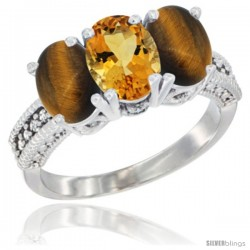 14K White Gold Natural Citrine & Tiger Eye Sides Ring 3-Stone 7x5 mm Oval Diamond Accent
