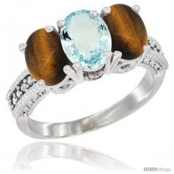 14K White Gold Natural Aquamarine & Tiger Eye Sides Ring 3-Stone 7x5 mm Oval Diamond Accent