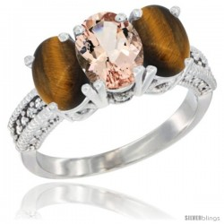 14K White Gold Natural Morganite & Tiger Eye Sides Ring 3-Stone 7x5 mm Oval Diamond Accent