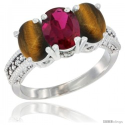 14K White Gold Natural Ruby & Tiger Eye Sides Ring 3-Stone 7x5 mm Oval Diamond Accent