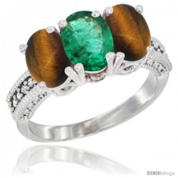 14K White Gold Natural Emerald & Tiger Eye Sides Ring 3-Stone 7x5 mm Oval Diamond Accent