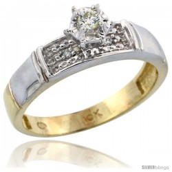 10k Yellow Gold Diamond Engagement Ring, 3/16 in wide -Style Ljy107er