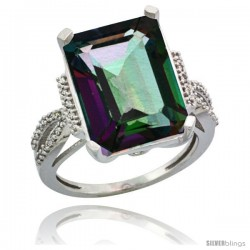 Sterling Silver Diamond Mystic Topaz Ring 12 ct Emerald Shape 16x12 Stone 3/4 in wide