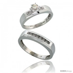 Sterling Silver 2-Piece Diamond Ring Set ( Engagement Ring & Man's Wedding Band ), w/ 0.11 Carat Brilliant Cut Diamonds