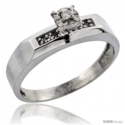 Sterling Silver Diamond Engagement Ring, w/ 0.07 Carat Brilliant Cut Diamonds, 3/16 in. (4.5mm) wide -Style Ag109er