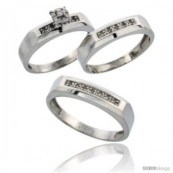 Sterling Silver 3-Piece Trio His (5mm) & Hers (4.5mm) Diamond Wedding Band Set, w/ 0.14 Carat Brilliant Cut Diamonds