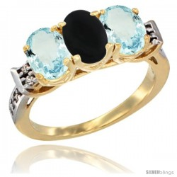 10K Yellow Gold Natural Black Onyx & Aquamarine Sides Ring 3-Stone Oval 7x5 mm Diamond Accent