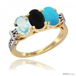10K Yellow Gold Natural Aquamarine, Black Onyx & Turquoise Ring 3-Stone Oval 7x5 mm Diamond Accent