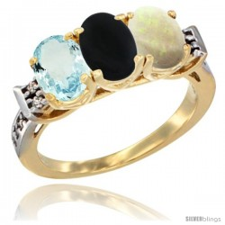 10K Yellow Gold Natural Aquamarine, Black Onyx & Opal Ring 3-Stone Oval 7x5 mm Diamond Accent