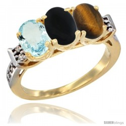 10K Yellow Gold Natural Aquamarine, Black Onyx & Tiger Eye Ring 3-Stone Oval 7x5 mm Diamond Accent