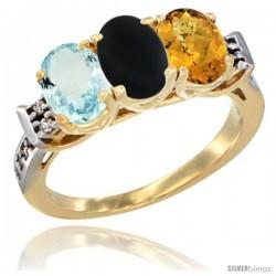 10K Yellow Gold Natural Aquamarine, Black Onyx & Whisky Quartz Ring 3-Stone Oval 7x5 mm Diamond Accent