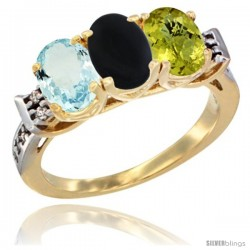 10K Yellow Gold Natural Aquamarine, Black Onyx & Lemon Quartz Ring 3-Stone Oval 7x5 mm Diamond Accent