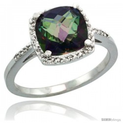 Sterling Silver Diamond Mystic Topaz Ring 2.08 ct Cushion cut 8 mm Stone 1/2 in wide