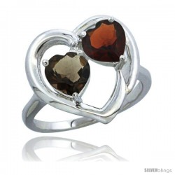 14k White Gold 2-Stone Heart Ring 6mm Natural Smoky Topaz & Garnet Diamond Accent