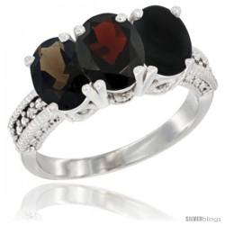 14K White Gold Natural Smoky Topaz, Garnet & Black Onyx Ring 3-Stone 7x5 mm Oval Diamond Accent
