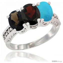 14K White Gold Natural Smoky Topaz, Garnet & Turquoise Ring 3-Stone 7x5 mm Oval Diamond Accent