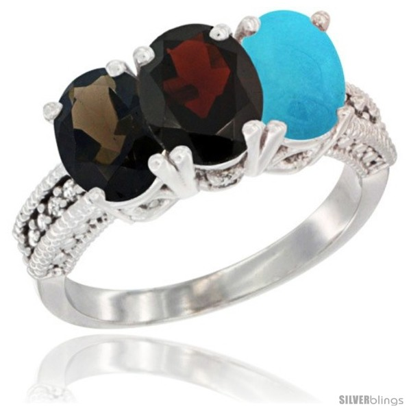 https://www.silverblings.com/59324-thickbox_default/14k-white-gold-natural-smoky-topaz-garnet-turquoise-ring-3-stone-7x5-mm-oval-diamond-accent.jpg