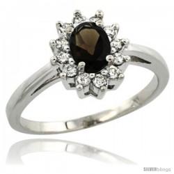 14k White Gold Smoky Topaz Diamond Halo Ring Oval Shape 1.2 Carat 6X4 mm, 1/2 in wide