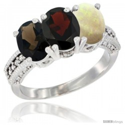 14K White Gold Natural Smoky Topaz, Garnet & Opal Ring 3-Stone 7x5 mm Oval Diamond Accent