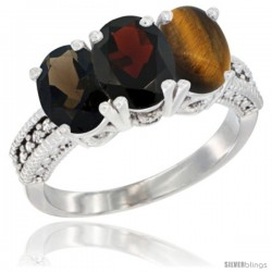 14K White Gold Natural Smoky Topaz, Garnet & Tiger Eye Ring 3-Stone 7x5 mm Oval Diamond Accent