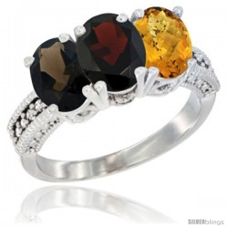 14K White Gold Natural Smoky Topaz, Garnet & Whisky Quartz Ring 3-Stone 7x5 mm Oval Diamond Accent