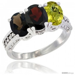 14K White Gold Natural Smoky Topaz, Garnet & Lemon Quartz Ring 3-Stone 7x5 mm Oval Diamond Accent