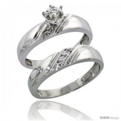 Sterling Silver 2-Piece Diamond Engagement Ring Set, w/ 0.07 Carat Brilliant Cut Diamonds, 3/16 in. (4.5mm) wide