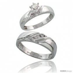 Sterling Silver 2-Piece Diamond Ring Set ( Engagement Ring & Man's Wedding Band ), w/ 0.08 Carat Brilliant Cut Diamonds