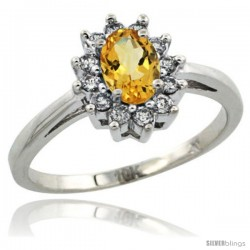10k White Gold Citrine Diamond Halo Ring Oval Shape 1.2 Carat 6X4 mm, 1/2 in wide