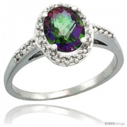 Sterling Silver Diamond Mystic Topaz Ring Oval Stone 8x6 mm 1.17 ct 3/8 in wide