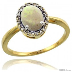 14k Yellow Gold Diamond Halo Opal Ring 1.2 ct Oval Stone 8x6 mm, 1/2 in wide