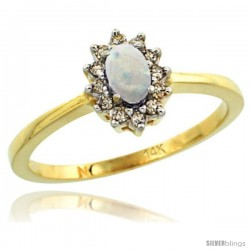 14k Yellow Gold Diamond Halo Opal Ring 0.25 ct Oval Stone 5x3 mm, 5/16 in wide