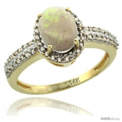 14k Yellow Gold Diamond Halo Opal Ring 1.2 ct Oval Stone 8x6 mm, 3/8 in wide