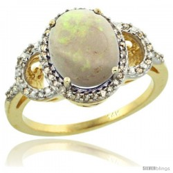 14k Yellow Gold Diamond Halo Opal Ring 2.4 ct Oval Stone 10x8 mm, 1/2 in wide