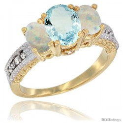 14k Yellow Gold Ladies Oval Natural Aquamarine 3-Stone Ring with Opal Sides Diamond Accent
