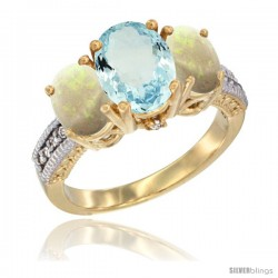 14K Yellow Gold Ladies 3-Stone Oval Natural Aquamarine Ring with Opal Sides Diamond Accent