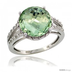Sterling Silver Diamond Natural Green Amethyst Ring Ring 5.25 ct Round Shape 11 mm, 1/2 in wide