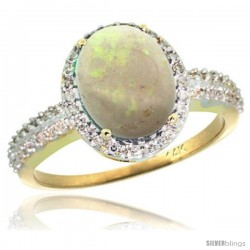 14k Yellow Gold Diamond Opal Ring Oval Stone 10x8 mm 2.4 ct 1/2 in wide