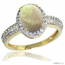 14k Yellow Gold Diamond Opal Ring Oval Stone 9x7 mm 1.76 ct 1/2 in wide
