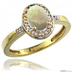 14k Yellow Gold Diamond Opal Ring 1 ct 7x5 Stone 1/2 in wide