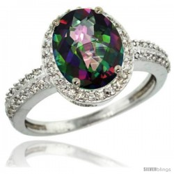 Sterling Silver Diamond Mystic Topaz Ring Oval Stone 10x8 mm 2.4 ct 1/2 in wide