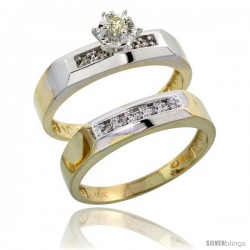 10k Yellow Gold Ladies' 2-Piece Diamond Engagement Wedding Ring Set, 3/16 in wide -Style Ljy109e2